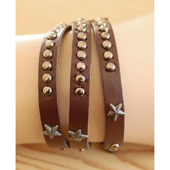 Bracelet 3 Tours Etoiles Marron Country Western