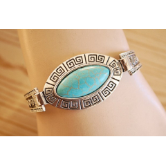 Bracelet Turquoise Howlite Rigide Ovale Country Western