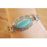 Bracelet Turquoise Howlite Rigide Ovale Country Western