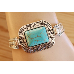 Bracelet Turquoise Howlite Rigide Rectangle Country Western