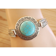 Bracelet Turquoise Howlite Rigide Rond Country Western