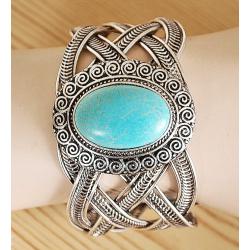 Bracelet Turquoise Rigide Howlite Ovale Country Western