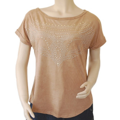 T-shirt Tunique Country Western Suedine Beige Camel