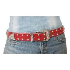 Ceinture Femme Rivets Strass Country Western Cuir Rouge