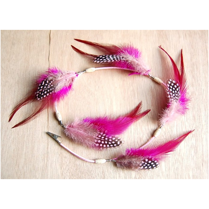 Pince Plumes Perles Bois Rose - Country Western