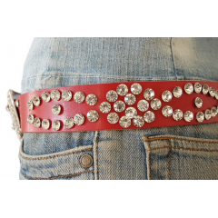 Ceinture Femme Rivets Strass Country Western Cuir Rouge II