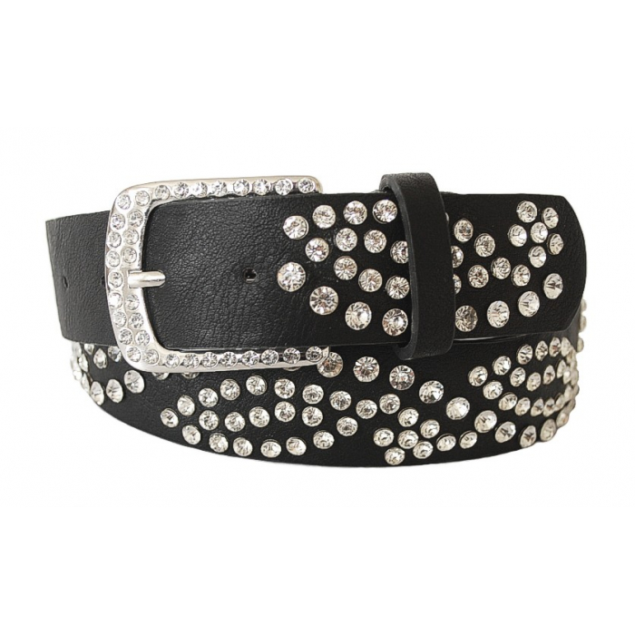 Ceinture Femme Noir Rivets Boucle Strass Country Western