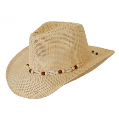 Chapeau Country Western Bourdalou Coquillages Beige