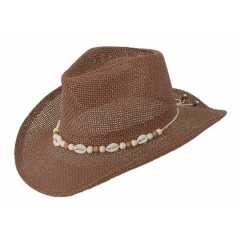 Chapeau Country Western Bourdalou Coquillages Marron