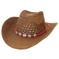 Bourdalou Corde Bolo Rouge Motifs Ronds - Country Western