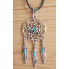 Collier Pendentif Dreamcatcher Plumes Turquoise Country Western