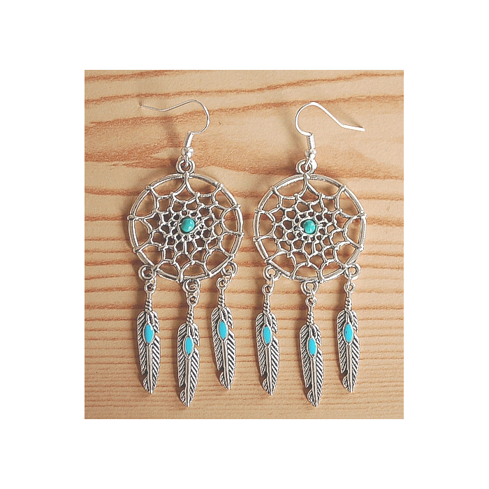 Boucles d'oreilles Dreamcatcher Plumes Turquoise Country Western