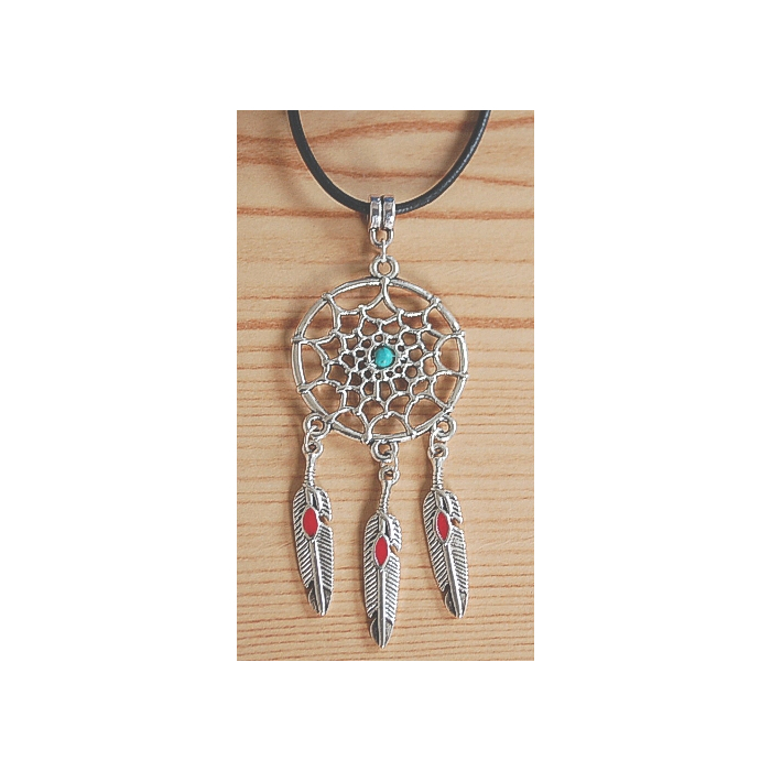 Collier Pendentif Dreamcatcher Plumes Rouge Country Western