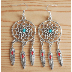 Boucles d'oreilles Dreamcatcher Plumes Rouge Country Western