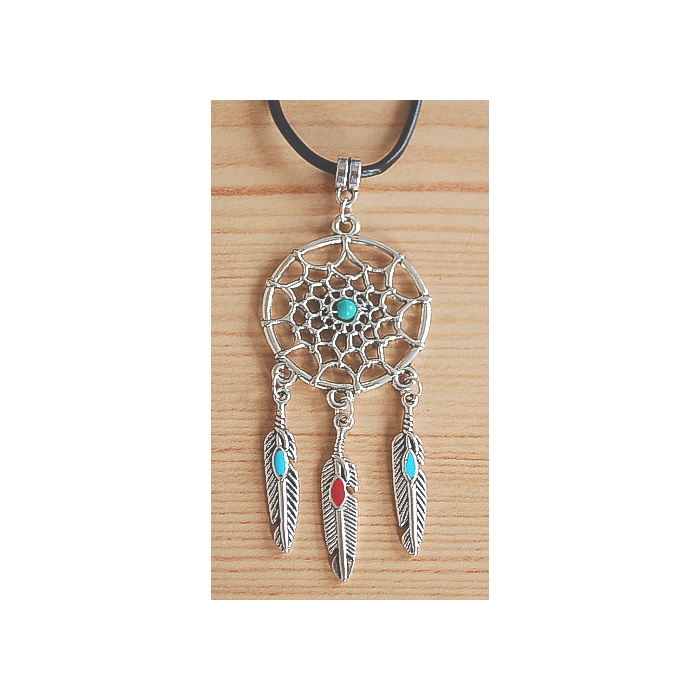 Collier Pendentif Dreamcatcher Plumes Rouge et Turquoise Country Western