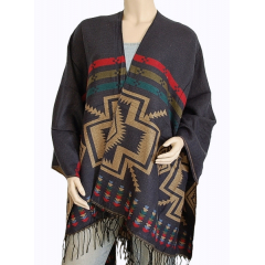 Cape Poncho Reversible Bleu Beige Country Western Cowboy