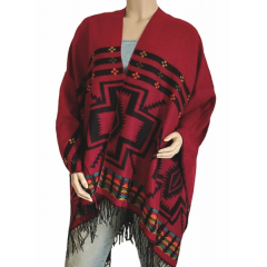 Cape Poncho Reversible Rouge Noir Country Western Cowboy