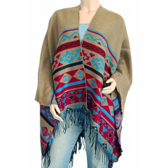 Cape Poncho Beige Ficelle Country Western Cowboy