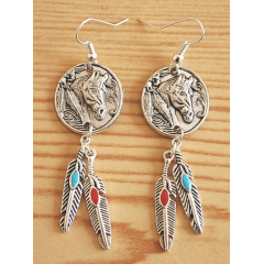 Boucle d'oreilles Cheval Plumes Country Western