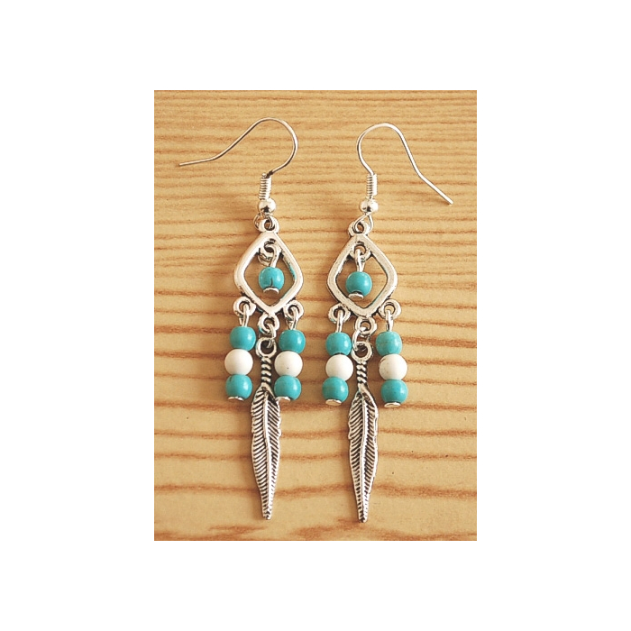 Boucles d'oreilles Plumes Perles Turquoise Blanche Country Western