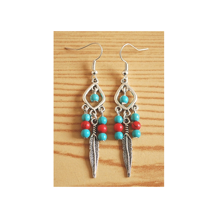 Boucles d'oreilles Plumes Perles Turquoise Rouge Country Western