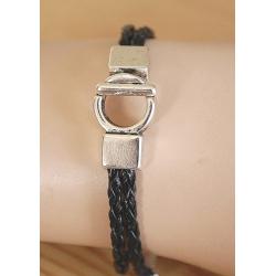 Bracelet métal et cuir Médaillon Cheval Country Western
