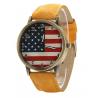 Montre Bracelet USA Façon Vintage Jaune - Country Western