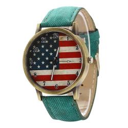 Montre Bracelet USA Façon Vintage Vert - Country Western