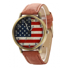 Montre Bracelet USA Façon Vintage Marron - Country Western