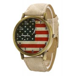 Montre Bracelet USA Façon Vintage Blanc - Country Western