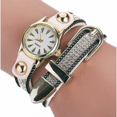 Montre Bracelet Blanc Strass 2 Tours Boucle Country