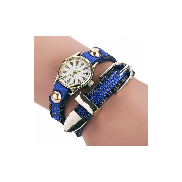 Montre Bracelet Bleu Strass 2 Tours Boucle Country