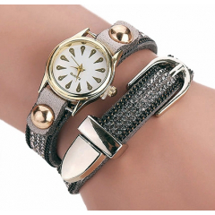 Montre Bracelet Gris Strass 2 Tours Boucle Country