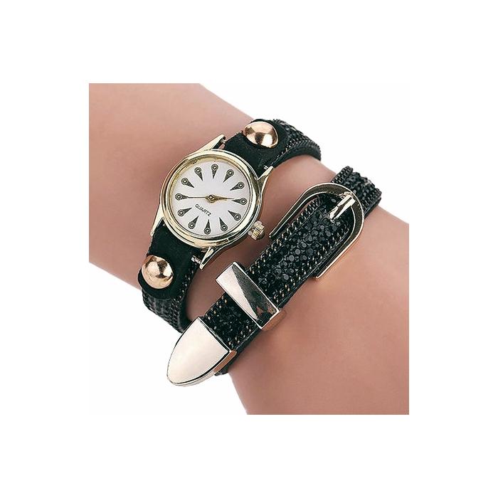 Montre Bracelet Noir Strass 2 Tours Boucle Country