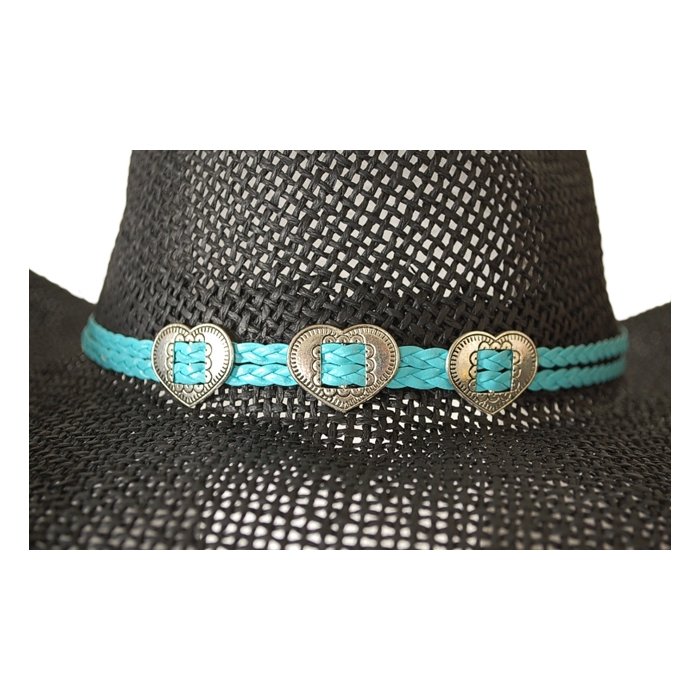 Bourdalou Coeur - Lanière double - Turquoise - Country Western