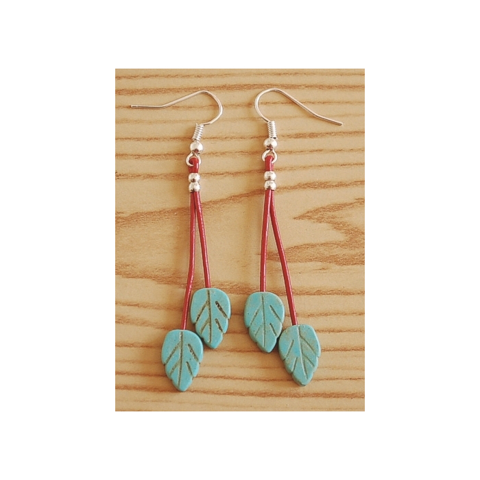 Boucle d'oreilles Feuilles Turquoise Cuir Rouge Country Western