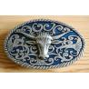 Boucle de Ceinture Buffle Cowboy Fond Bleu Country Western