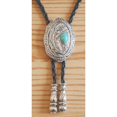 Bolo Tie Turquoise Motif Plume Embouts Métal Country Western