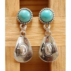 Boucles d'oreilles Clous Turquoise Howlite Country Western Chapeau