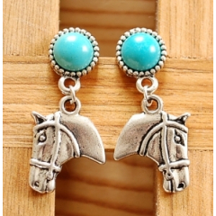 Boucles d'oreilles Clous Turquoise Howlite Country Western Tête Cheval