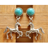Boucles d'oreilles Clous Turquoise Howlite Country Western Cheval