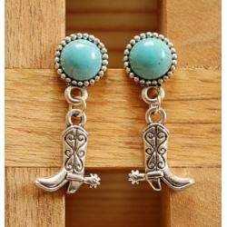 Boucles d'oreilles Clous Turquoise Howlite Country Western Botte Santiag