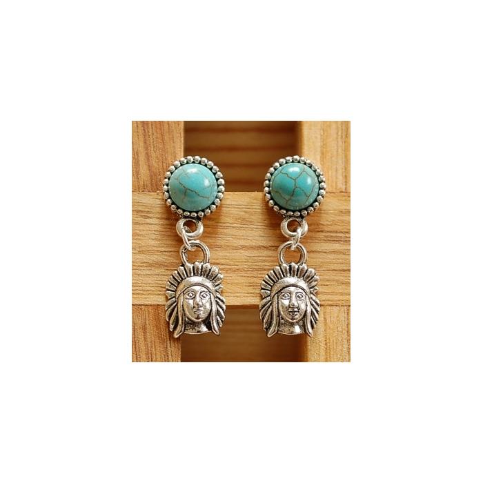 Boucles d'oreilles Clous Turquoise Howlite Country Western Indien