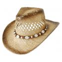 Chapeau de Paille Country Western Bourdalou Coquillages Marron