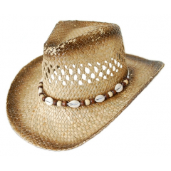 Chapeau de Paille Country Western Bourdalou Coquillages Marron
