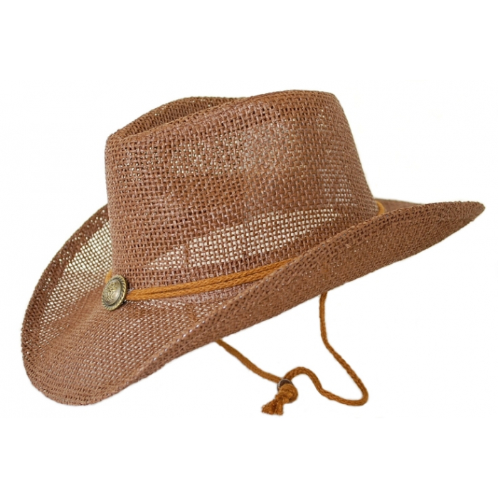 Chapeau Country Western Marron Chocolat Bourdalou Jugulaire