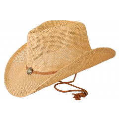Chapeau Country Western Havanne Bourdalou Jugulaire