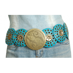 Ceinture Femme Turquoise Country Western Concho Fleurs