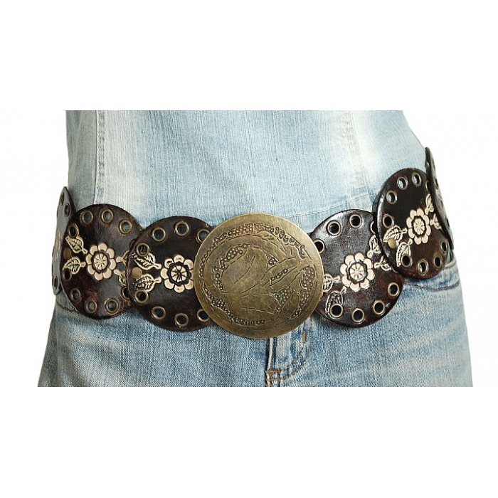 Ceinture Femme Marron Country Fleurs Ronds Country Western