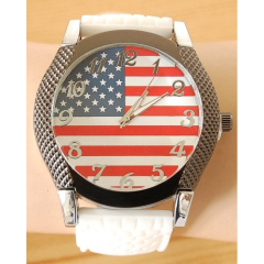 Montre Bracelet Silicone USA - Gros cadran - Blanc - Country Western